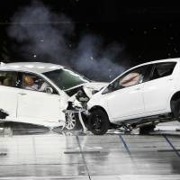 End of the road: Toyota cars are crashed during a safety test. Though not directly related to sudden-acceleration problems, to avoid such head-on horror Toyota is now developing a technology to veer a vehicle away when it isn't able to stop before impact. | AP