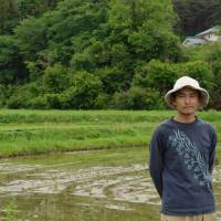 Mixed outlook: Organic farmer Naoki Tachikawa, who can see many dying red pines in the woods around his paddies. | WINIFRED BIRD PHOTO