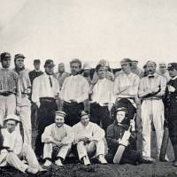 Men o' war: The Royal Navy team for the first cricket match in Japan, on June 25, 1863, in Yokohama, with Harry Rawson and Albert Markham seated (center, left and right).