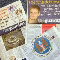 But which is the guardian?: Among other revelations, Edward Snowden has accused the U.S. of running a massive and secretive surveillance network, involving many of the world's biggest tech companies, that collects data on people worldwide. | KYODO