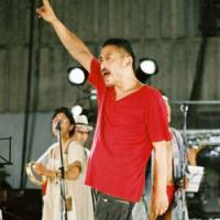 Daisuke Fuwa, leader of Shibusashirazu Orchestra, performs with his band.