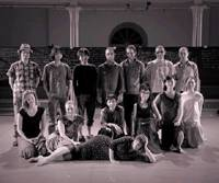 Square dance: Yoshiko Chuma (second row center) and her dancers will use large cubic frames in Chuma's newest production.