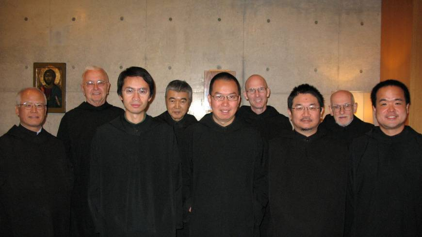 Men in black: Some of the residents of Trinity Benedictine Monastery in Fujimi, Japan's only community of Benedictine monks.