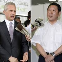 Point, counterpoint: Louis Foster, senior managing director at Cerberus, and Seibu Holdings President Takashi Goto speak separately with reporters Tuesday after the Seibu general shareholders' meeting in Tokorozawa, Saitama Prefecture. | KYODO