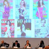 Empowering: Los Angeles-based fashion designer Chan Luu (fourth from left) and fellow panelists discuss measures to create fashion-related jobs for female artisans in Africa at an Ethical Fashion Initiative symposium Saturday at Pacifico Yokohama, on the sidelines of  TICAD V. | YOSHIAKI MIURA