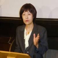 On fire: Hokkaido Gov. Harumi Takahashi holds a news conference in Sapporo on Saturday. | KYODO