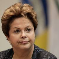 Visit canceled: Brazilian President Dilma Rousseff speaks at a Monday ceremony for Rio Branco Institute graduates in Brasilia. | AP