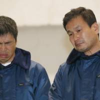 Shipwrecked: Mitsuhiro Iwamoto (left), 46, and newscaster Jiro Shinbo, 57, attend a news conference after they were rescued Friday by the Maritime Self-Defense Force in the Pacific Ocean. Iwamoto, a veteran sailor who is visually impaired, and Shinbo left Onahama port in Iwaki, Fukushima Prefecture, on Sunday bound for San Diego, California, but ran into stormy weather. | KYODO