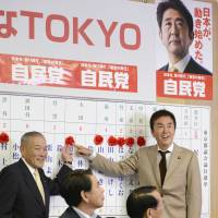 Reversal: Nobuteru Ishihara (far right), leader of the Liberal Democratic Party's Tokyo chapter, points to the name of a candidate who won a seat in the Tokyo Metropolitan Assembly on Sunday at the party's headquarters in the Nagatacho district. | KYODO