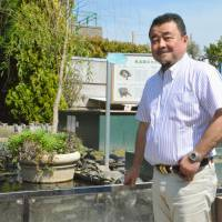 Denizen of the deep: A sea turtle swims in a tank at the Suma Aqualife Park aquarium in Kobe on May 13, while aquarium head Naoki Kamezaki stands in front of a research facility for turtles the same day. | KYODO