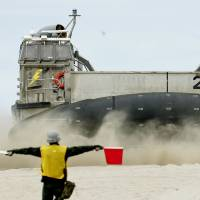 Beachhead: A Maritime Self-Defense Force hovercraft lands on a beach Monday in Southern California during a joint military exercise with the United States. | KYODO