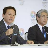 In the spotlight: Tokyo Gov. Naoki Inose speaks, with Japanese Olympic Committee president Tsunekazu Takeda looking on, during a news conference on Tuesday after the IOC released its 2020 Evaluation Committee Report on the Tokyo, Istanbul and Madrid Olympic bids.  'Frankly speaking, I'm truly pleased that the commission overall gave us  high marks,' Inose said.    KYODO