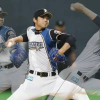 Here it comes: Fighters rookie Shohei Otani, seen firing a pitch at Sapporo Dome, strikes out four batters in his first career victory on Saturday. Hokkaido Nippon Ham defeated the Chunichi Dragons 7-3.   KYODO