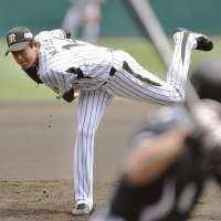 On a roll: Tigers starter Atsushi Nogami helps his team move a season-best 11 games over .500 on Saturday. Hanshin defeated the visiting Chiba Lotte Marines 3-1. | KYODO
