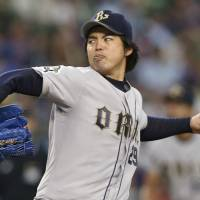 Tough to handle: The Buffaloes' Kei Igawa finishes with nine strikeouts in 5 1/3 innings on Saturday at Seibu Dome. Orix defeated the Seibu Lions 2-0. | KYODO