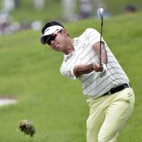 Another day at the office: Hideki Matsuyama finishes with two-birdies in a two-bogey round that left him at 5-under-par 139 in the Japan Golf Tour Championship in Kasama, Ibaraki Prefecture. | KYODO