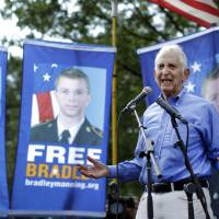 Brothers in leaks: Pentagon Papers source Daniel Ellsberg speaks in support of U.S. Army Pfc. Bradley Manning outside the gates of Fort Meade, Maryland, on Monday. | AP