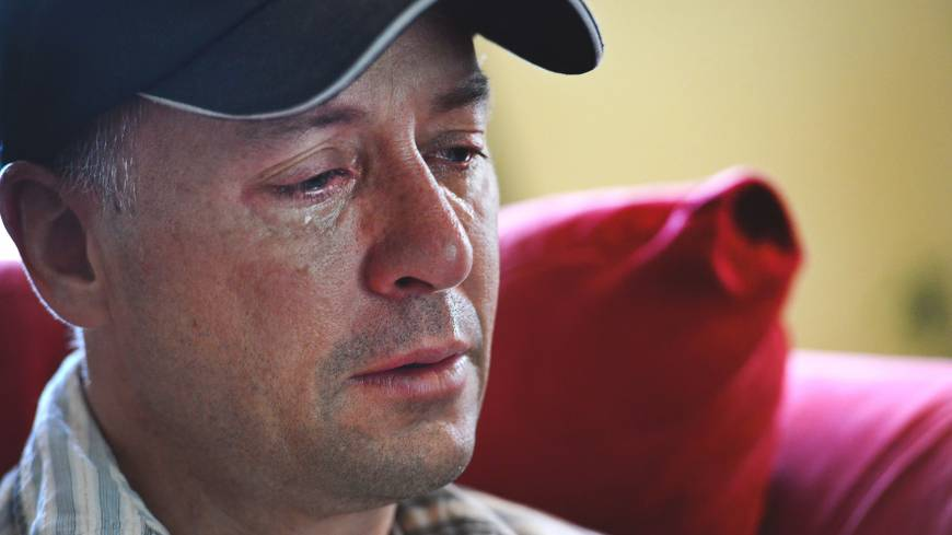 Never-ending tears: Mark Barden weeps as he recalls memories of his slain son, Daniel, in Newtown, Connecticut on May 23. Daniel was among the schoolchildren killed in last December's Newtown shootings. | THE WASHINGTON POST