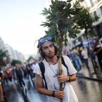 Going out on a limb: A protester holds tree branches during clashes between riot police and demonstrators in the streets adjacent to Taksim Square in Istanbul on Sunday.   AFP-JIJI