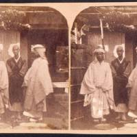 Unearthed: Never-before published stereoscopic photographs, taken in Japan c. 1860 by the mysterious American photographer John Wilson, were recently discovered among documents in a German archive, including this photo of priests at a temple in Oji. | COURTESY OF GEHEIMES STAATSARCHIV, PREUSSISCHER KULTURBESITZ