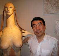 Avant garde: Psychiatrist Ryutaro Takahashi (pictured next to a Katsura Funakoshi sculpture) has collected more than 1,500 works by Japanese artists such as Makoto Aida and Kohei Nawa. | EDAN CORKILL PHOTO