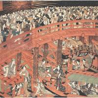 Having a blast: 'Fireworks at Ryogoku' (c.1817) by Utagawa Toyokuni uses its six-panel format to show not only the fireworks display, but also crowds on the bridge and boat below. | SAITO COLLECTION