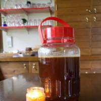 Rich pickings: My pot of honey and fragrant candle courtesy of the sauna bees