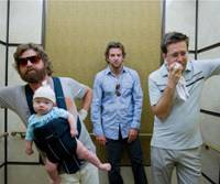 Three men and a baby: Zach Galifianakis, Bradley Cooper and Ed Helms find a baby in their room, the first of many surprises in 'The Hangover.' | © 2008 WARNER BROS. ENTERTAINMENT INC.