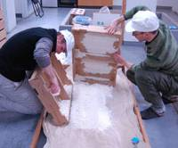 Magical mold: Interns prepare to lay out koji, which converts starch to sugar, at the the Daimon Brewery in Osaka Prefecture. | MELINDA JOE PHOTO