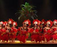 Dancers wearing half-coconut bras and wood-bark skirts perform Tahitian dance at a Tokyo show staged by Sandii's Hula Studio on Oct. 6, 2007. | KAZUHUMI KATAOKA PHOTO