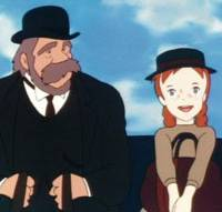 Boundless enthusiasm: A scene from 'Akage no An' ('Anne with Red Hair'), based on a Japanese translation of 'Anne of Green Gables,' shows Anne Shirley enjoying a buggy drive with her guardian Matthew Cuthbert. | NIPPON ANIMATION CO.