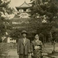 Stepping out: Miyazaki's parents, Kiyochika and Fumiko, taking timeout at an unspecified location, most likely before the end of the war when his mother, Fumiko, was in her 20s. | MANABU MIYAZAKI