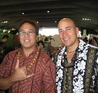 Above: Hawaiian Michael Kailipunohu Canopin and Alex Gnos came over from Osaka to take part in the event, while Lana Ozaki, a Honolulu resident, and her mother opened a shop selling clothes and accessories.
