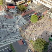 Cultures crossing: Japanese people crowding the streets of Tokyo's Shibuya district (above) may have any one of 100,000-plus surnames, whereas Chinese rubbing shoulders with them will have one of only a few thousand and Koreans one of only some 200. | YOSHIAKI MIURA PHOTO