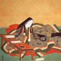 Mystery woman: A 17th-century painting of the author of the world's first novel, 'The Tale of Genji,' at work on her masterpiece early in the 11th century. Though she is known to history as Murasaki Shikibu, that certainly wasn't her real name, and her true identity is now lost in the mists of time.