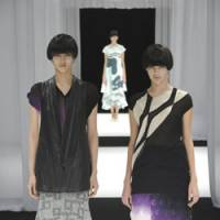 Fired up: Three outfits from Matohu's standout collection that was inspired by ancient Japanese Oribe pottery.