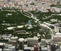 New look: A mini-model of central Tokyo with a replica of Edo Castle's tower placed in the present-day East Gardens of the Imperial Palace where it once stood. | MORI BUILDING CO.