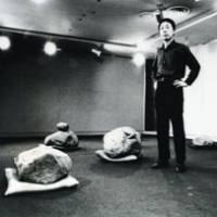 New art: Lee Ufan in 1971 at Pinar Gallery in Tokyo, where he showed a disconcerting combination of rocks and cushions in a work typical of the Mono-ha style. | SHIGEO ANZAI PHOTO