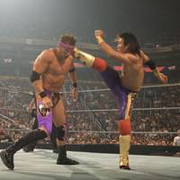 Heads he wins: Yoshi Tatsu unleashes one of his trademark roundhouse kicks on fellow RAW 'superstar' Zack Ryder during an August 2009 bout in Phoenix, Arizona. | © WORLD WRESTLING ENTERTAINMENT INC. ALL RIGHTS RESERVED.