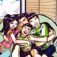 Past lives: In an image based on a photo supplied by Richard Cory, the Cory children pose for a picture with their father, an American, after throwing a surprise birthday party for him — their last together before they were taken to a refuge by their Japanese mother, renamed and told never to speak of their bicultural heritage. | ILLUSTRATION BY RICARDO PAES