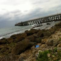 Staging point: Ten Gan Pier on Okinawa's east coast, as it looks today. Researchers fear chemical weapons were not only shipped from there to remote Johnston Island, but also loaded onto U.S. vessels in 1969 for dumping in nearby waters.   JON MITCHELL