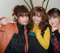 Girls interrupted: Morning Musume members (left to right) Ai Takahashi, Risa Niigaki and Lin Lin pull an instant pose for the JT at a Tokyo cafe.   ROBERT MICHAEL POOLE PHOTO