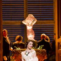 Diva drama: Albanian soprano Elomera Jaho performs as Violetta in 'La Traviata.' Jaho had to stop her performance midway through her Japan debut last week due to allergies.