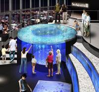 A CG image of the Caribbean Blue Hole fish tank in 'Sky Aquarium III'