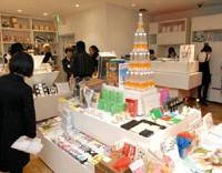 Grab bag: Tokyo Tower-shaped water bottles are interspersed with pens that look like tree leaves, clocks made from shredded ¥1,000 bills and much more at Tokyo's Tokyo.   YOSHIAKI MIURA PHOTO