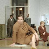 Engagingly nonlinear: The cast of Christoph Marthaler's unusual play, 'Riesenbutzbach,' perform paranoid villagers who feel their every move is being watched, at the Vienna Festival in 2009.   © DOROTHEA WIMMER