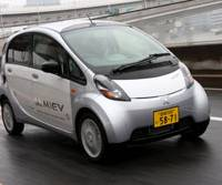 Mitsubishi's electric i MiEV beats other minicars off the lights, and it can be recharged at home or at special stations (below).   COURTESY OF MITSUBISHI MOTORS