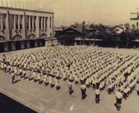 Children at assembly in 1932 on the site of what is now the Kyoto International Manga Museum.