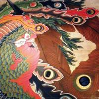 Katsushika Hokusai's phoenix shines down on visitors from the ceiling of Gansho-in Temple.