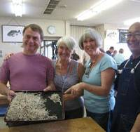 Fare dues: Visitors share their delight at having learned how to make  soba  noodles during a class at the community center outside Mano.